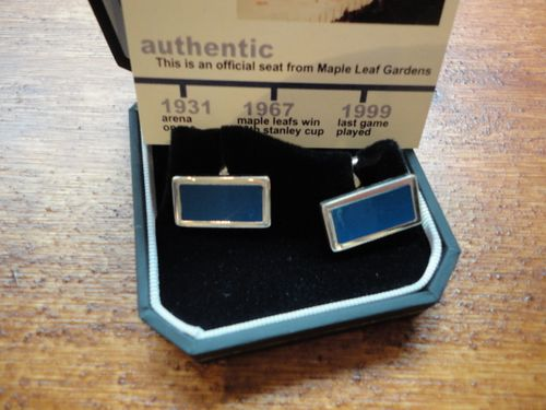 cufflinks made from seats at Maple Leaf Gardens