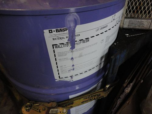 BASF WALLTITE ECO v.3 F RESIN, a purple barrel of walltite eco spray foam insulation resin,